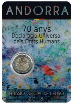 Andorra 2018 2 Euros 70 años de la Declaración de los Derechos Humanos S/C