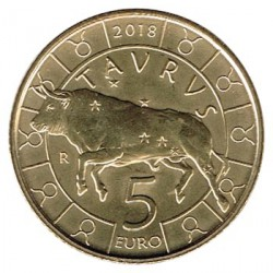 San Marino 2018 5 Euros. Zodiaco: Tauro S/C