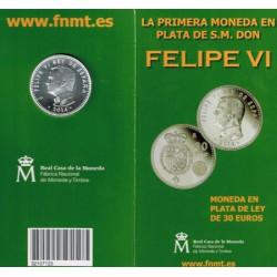 España 2014 Cartera Oficial Circulante Plata 30 Euros Plata Proclamación Felipe VI S/C