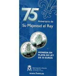 España 2013 Cartera Oficial 30Euros Circulante Plata 75 Aniv. S.M. El Rey S/C