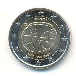 España 2009 2 Euros 10ª Aniversario Con Estrellas Grandes S/C