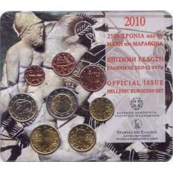 """Grecia 2010 Cartera Oficial Con 2 euros """"Batalla de Maratón"""" S/C"""