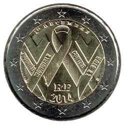 Francia 2014 2 Euros Lucha contra el SIDA S/C