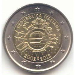 Italia 2012 2 Euros 10 Años de Circulación del Euro. S/C