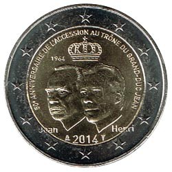 Luxemburgo 2014 2 Euros Ascensión al trono del Gran Duque S/C