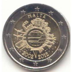 Malta 2012 2 Euros 10 Años de Circulación del Euro. S/C