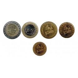 Mónaco 2002 Tira 5 valores 10,20 y 50 Céntimos. 1 y 2 euros S/C
