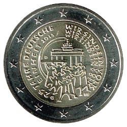 Alemania 2015 2 Euros Ceca G.25º Aniv.Reunificación Alemana S/C