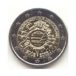Alemania 2012 2 Euros Ceca D. 10 Años de Circulación del Euro S/C