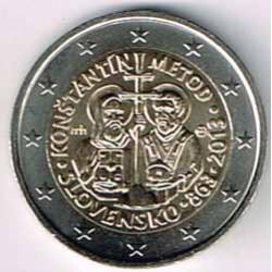Eslovaquia 2013 2 Euros Conmemoración llegada Constantino y Metodio S/C