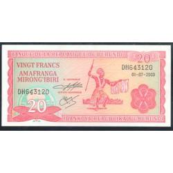 Burundi 20 Francos PK 27d (1-7-2.003) S/C