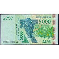 Costa de Marfil ( Est. Afric. del Oeste ) 5.000 Francos Pk 117 Aa (2.009) S/C