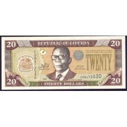 Liberia 20 Dólares PK 28e (2.009) S/C