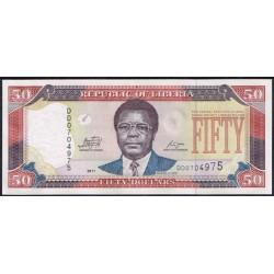 Liberia 50 Dólares PK 29e (2.011) S/C